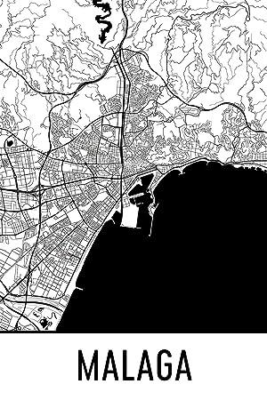 Spanien Karte Schwarz Weiß.Malaga Print Malaga Kunst Malaga Karte Malaga Spanien Malaga