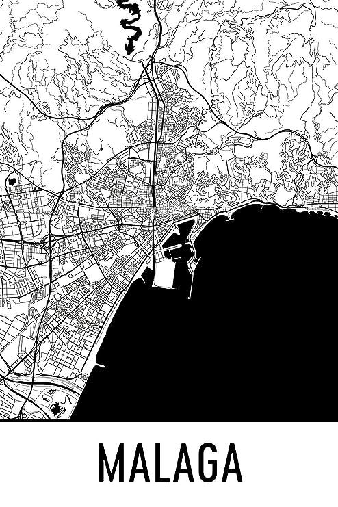 Modern Map Art Presión Malaga, arte de Málaga, mapa de ...