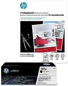 HP 305A Black Toner + HP Brochure Paper, Laser, 8.5 x 11, 150 sheets, Glossy