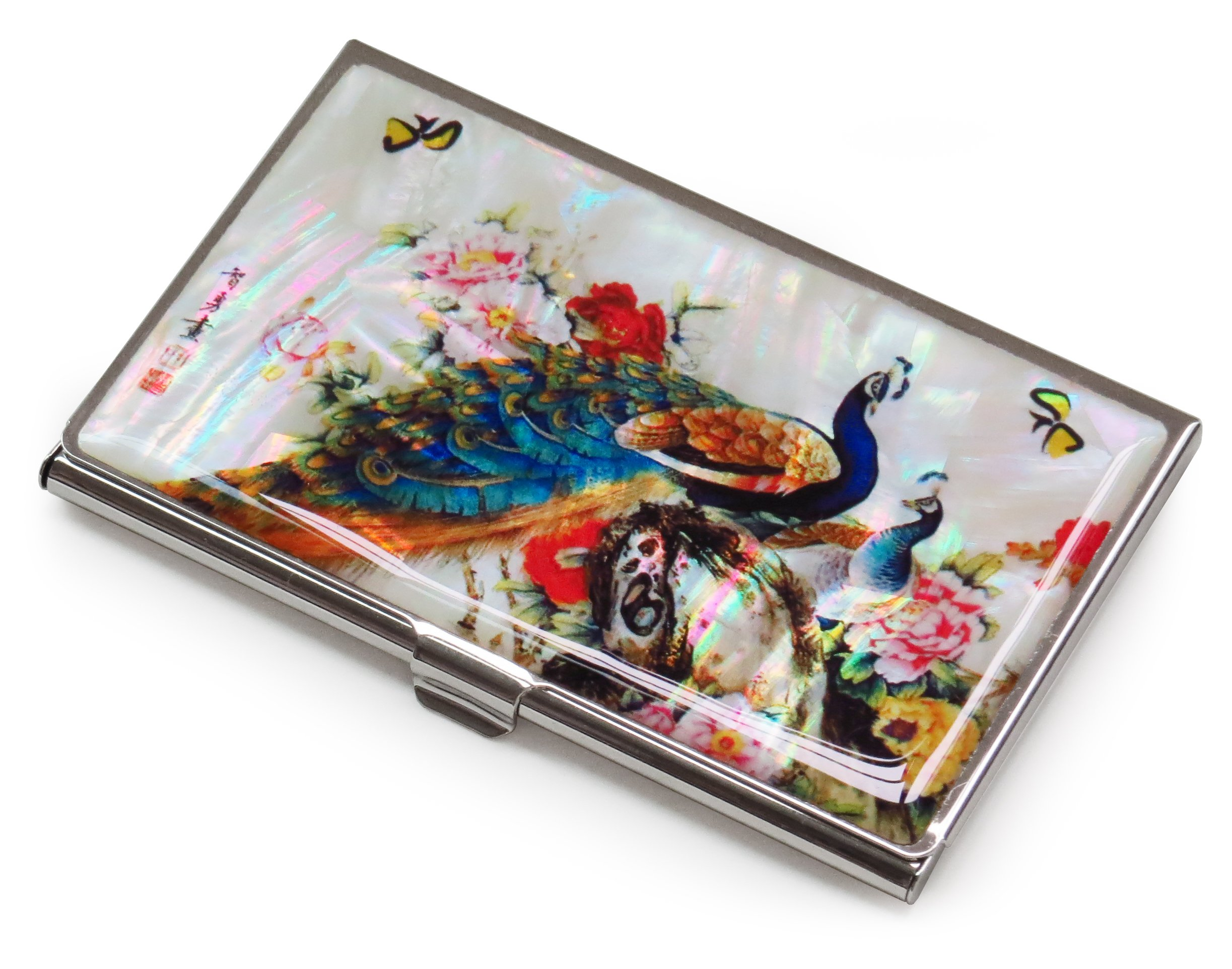Peacock Metal Business Credit Card Case Holder