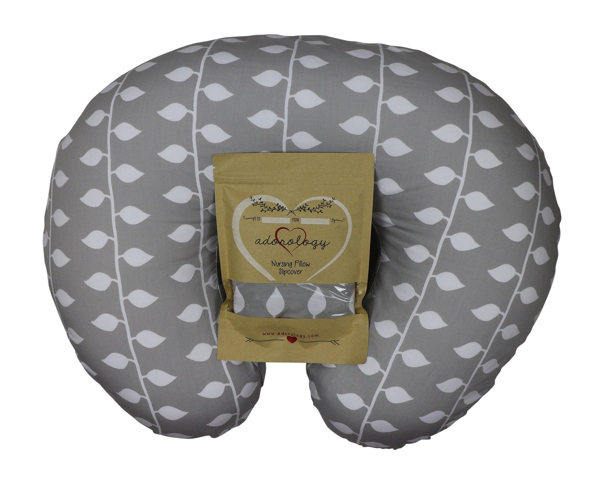 Organic Nursing Pillow Slipcover Gray Ivy Design Maternity Breastfeeding Newborn Infant Feeding Cushion Cover Case Baby Shower Gift for New Moms by Adorology