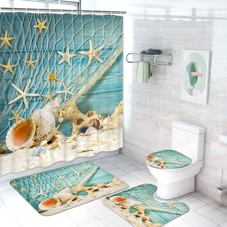 Starfish Fishing Net Shower Curtain Bath Mat Toilet Cover Rug Bathroom Decor