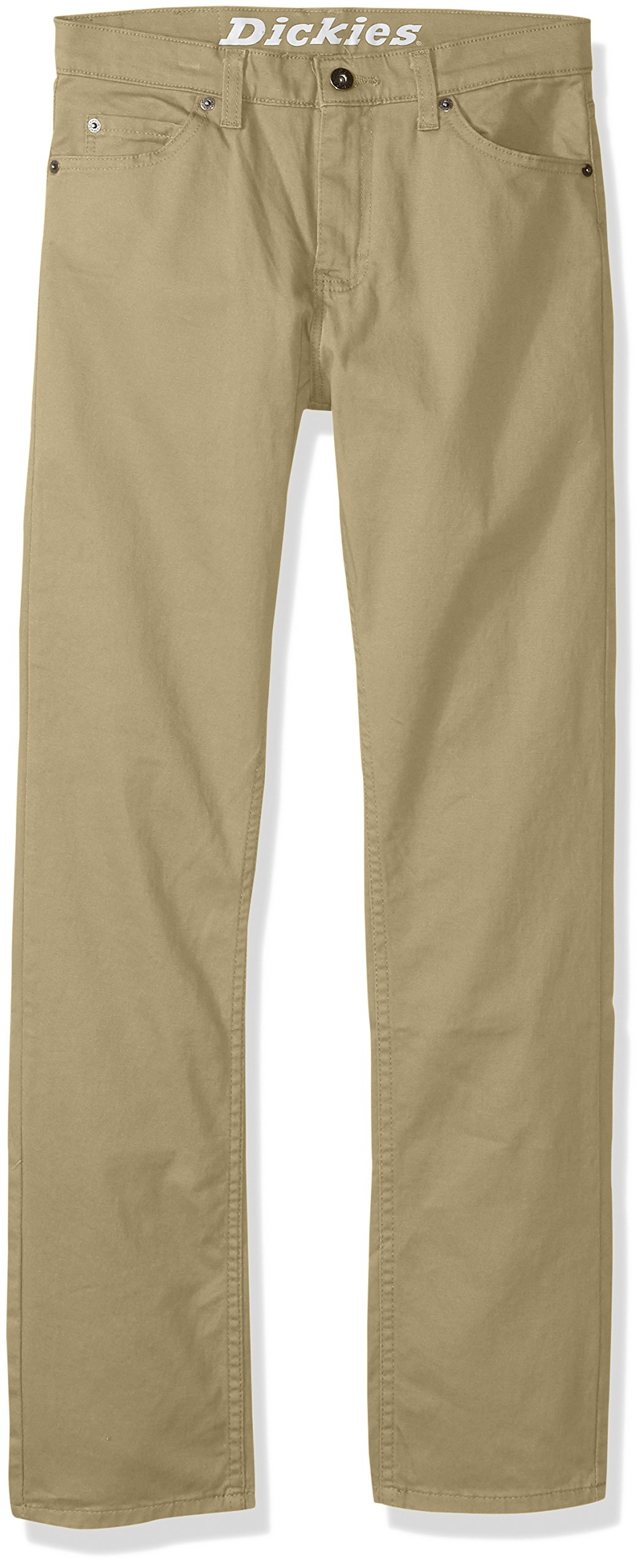 dickies Boys' Big Flex Twill Pant-Slim Taper Fit, Rinsed Desert Sand, 14 by dickies