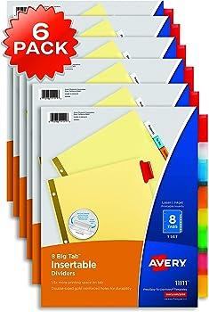 6-Pack Avery 8-Tab Binder Dividers