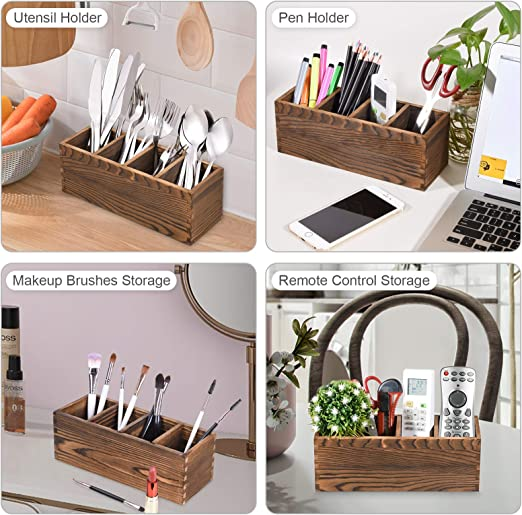 4 F/ächer Bambus 25 x 18 x 12 cm Edaygo Schreibtisch Organizer Aufbewahrungsbox Stiftek/öcher Besteckhalter L x B x H inklusive Griff