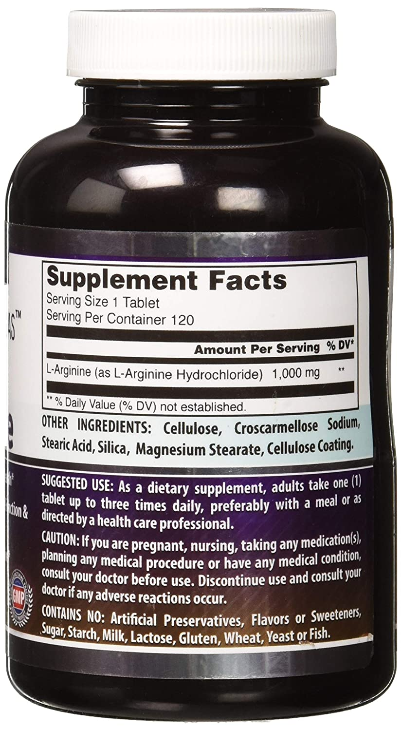 Amazing Nutrition L-arginine 1000 Mg 120 Tablets - Supports Circulation and Muscles - Supports Cardiovascular Health - Conditionally Essential Amino Acid ...