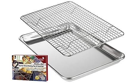 KITCHENATICS Aluminio Bandeja para Asar y Hornear con Acero Inoxidable Rejilla de Alambre: Bandeja para Horno con Rejilla de Enfriamiento - 24,4 x 33 ...