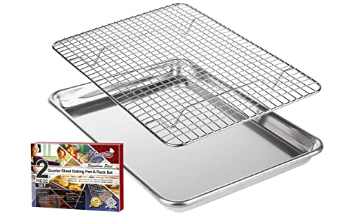 KITCHENATICS Aluminio Bandeja para Asar y Hornear con Acero Inoxidable Rejilla de Alambre: Bandeja para Horno con Rejilla de Enfriamiento - 24,4 x 33 cm: ...