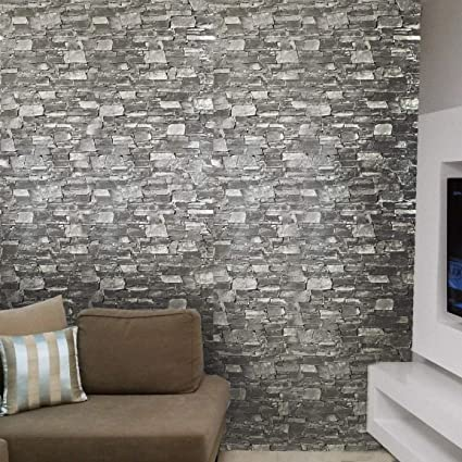 Amazon Com Slavyanski Vinyl Embossed Wallpaper Gray Black Coverings