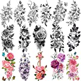 Yezunir 16 Sheets Sexy Flower Temporary Tattoos For Women Peony Sketch Lily Large Anchor Rose Floral With Butterfly Tattoos T