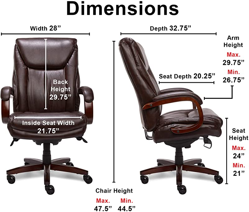 La-Z-Boy Edmonton Big and Tall Executive Office Chair with Comfort Core Cushions, Solid Wood Arms and Base, Waterfall Seat Edge, Bonded Leather, Big &...