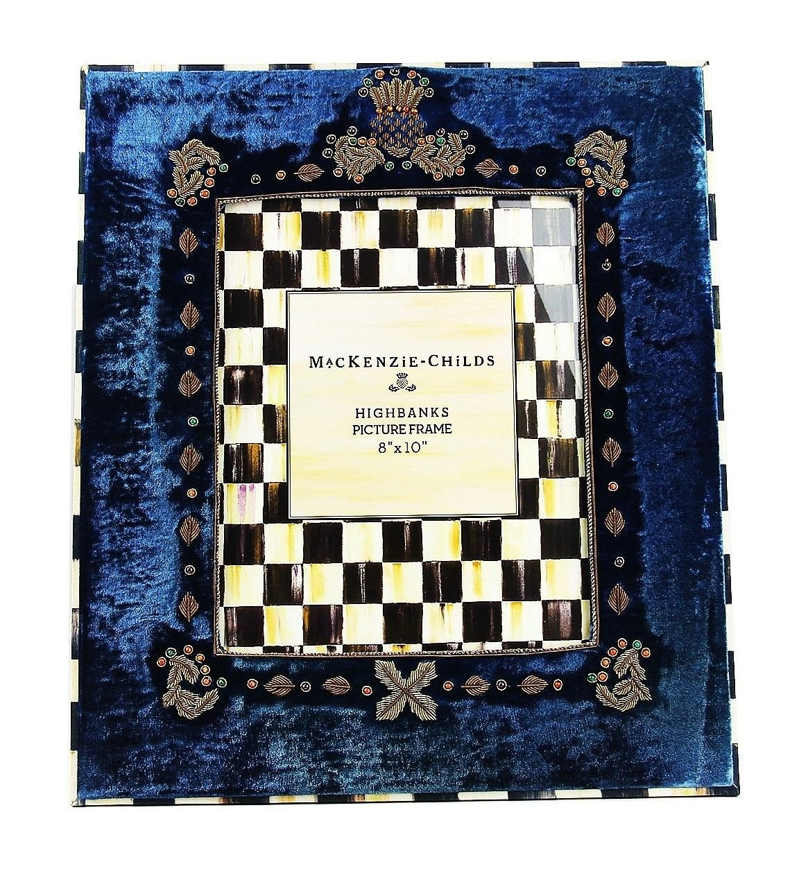 MacKenzie Childs AMAZING HIGHBANKS VELOUR FRENCH BLUE 8''x10'' FRAME BRAND NEW