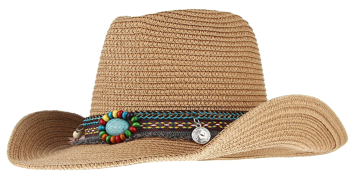 Lukis Women Men Straw Cowboy Hat Fedora Jazz Sun Cap