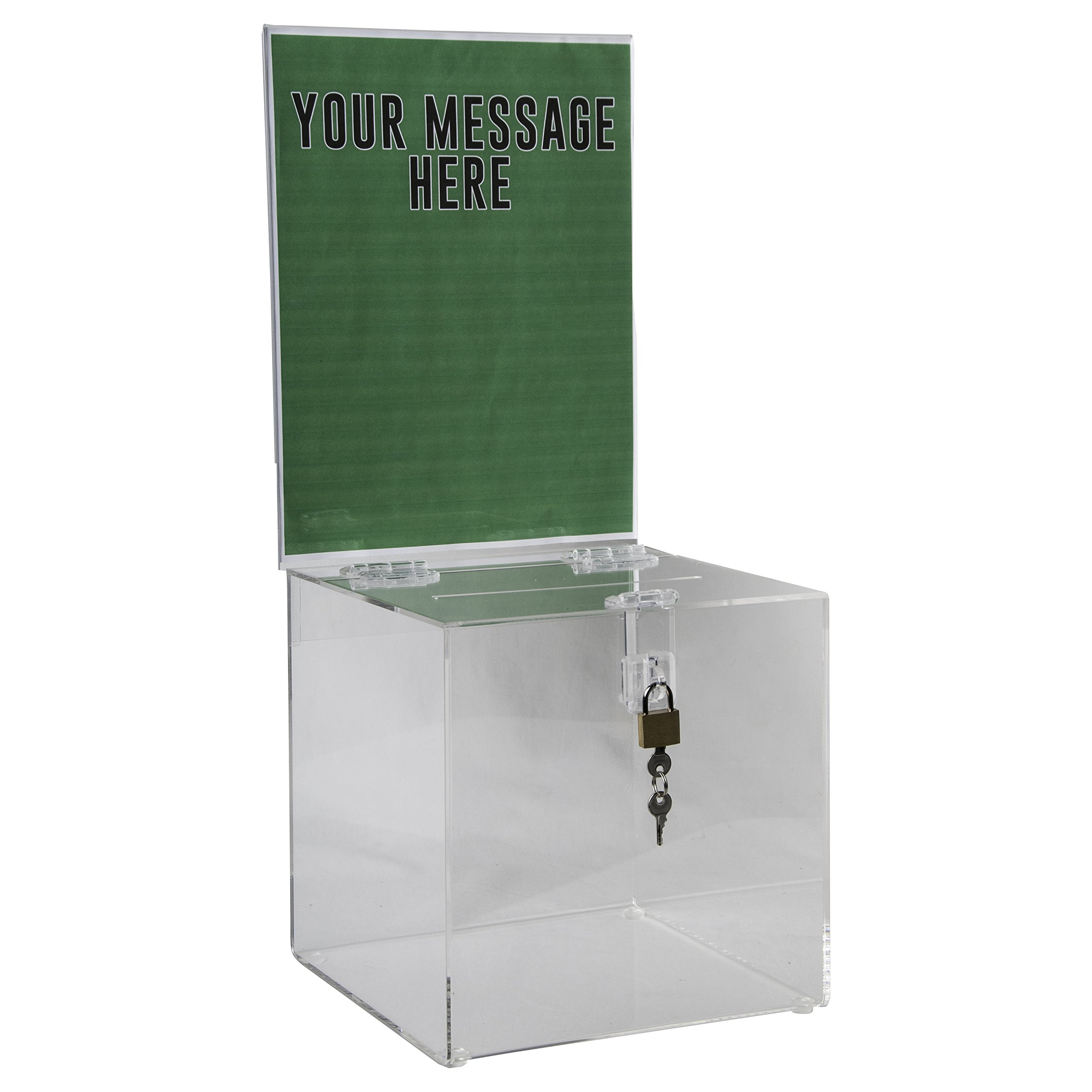 Clear-Ad - Acrylic Donation, Ballot, Raffle or Suggestion Box with Lock and Sign Holder - Plastic Comment or Compaint Container - Plexiglass Multipurpose Box with Slot - Clear (8x8)