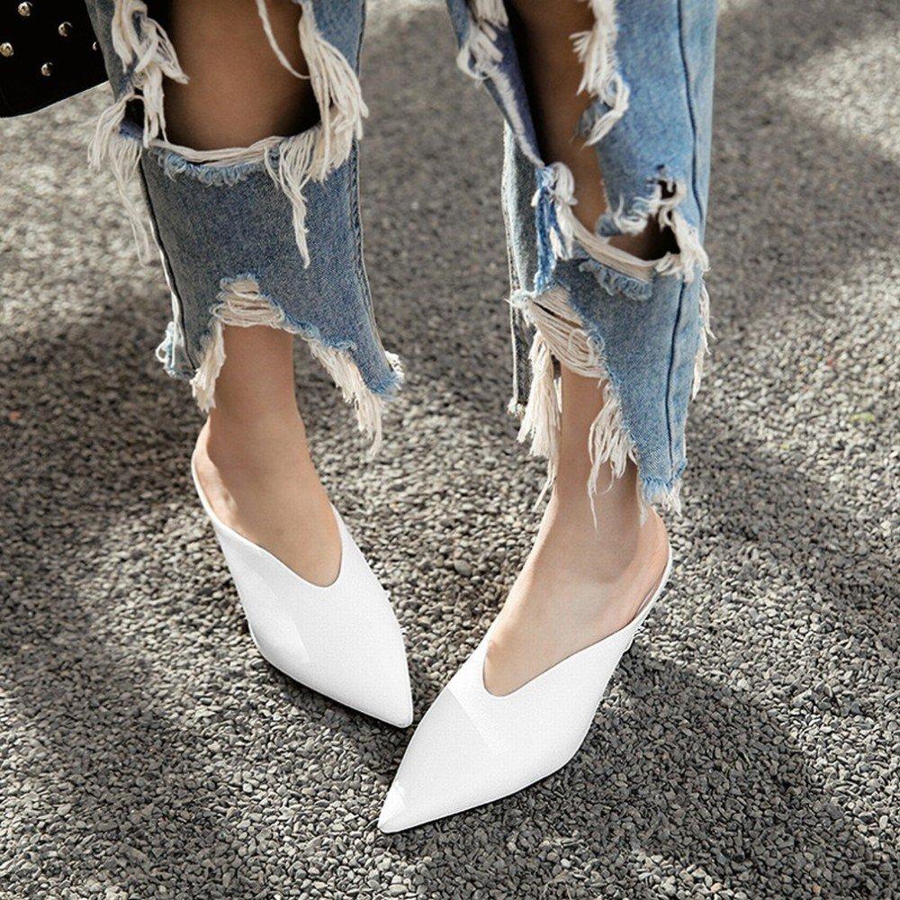 AN Frau Fruuml;hling und Sommer zeigte V Mund mit halb Pantoffeln mit geformten Sandalen weibliche Baotou Schuhe  39|Wei?