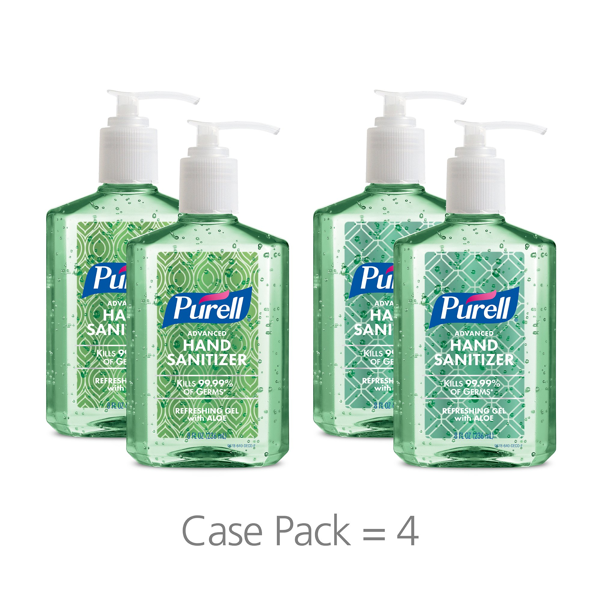 PURELL Advanced Hand Sanitizer Gel with Refreshing Aloe, Metalic Design Series, 8 fl oz Counter Top Pump Bottle (Pack of 4) 9678-06-ECDECO