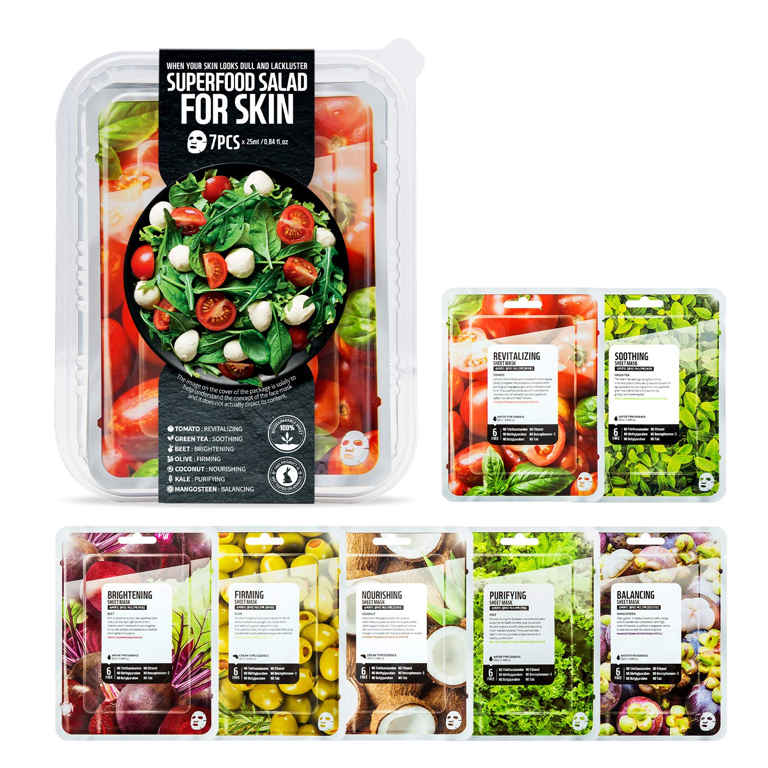 FARMSKIN Superfood Salad For Skin Beauty Facial Sheet Mask Salad Set (Pack of 7) Tomato