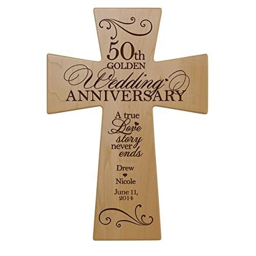 LifeSong Milestones Personalized 50th Wedding Anniversary Maple Wood Wall Cross Gift for Couple, 50 Year for Her, Fiftieth Wedding for Him 12×17