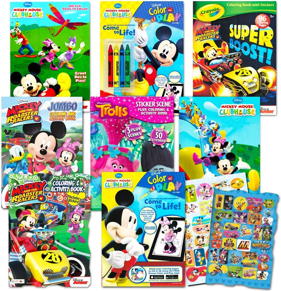 Amazon Com Disney Coloring Books For Kids Toddlers Bulk Set 8 Books And Sticker Pack Mickey Mouse Minnie Mouse And More Toys Games