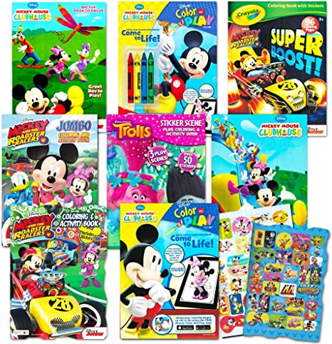 - Amazon.com: Disney Coloring Books For Kids Toddlers Bulk Set -- 8 Books And  Sticker Pack (Mickey Mouse, Minnie Mouse And More!): Toys & Games