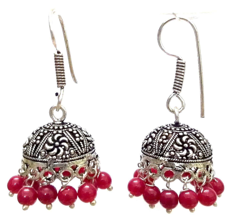 DESI HAWKER Silver Oxidized Earring Bali Jhumki Jhumka Jewelry Bollywood Drop Dangle Hook Small Chandelier NI-187