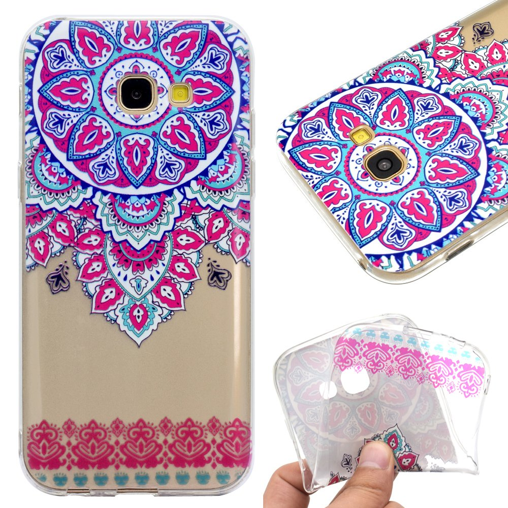Galaxy A5 2017 Case,Galaxy A5 2017 Cover,Leeook Fashion Creative Transparent Floral Pink Cherry Blossoms Flower Pattern Design Soft Ultra Thin TPU Silicone Protector Back Rubber Clear Flexible Slim Bumper Shell Mobile Phone Case Cover for Samsung Galaxy A5