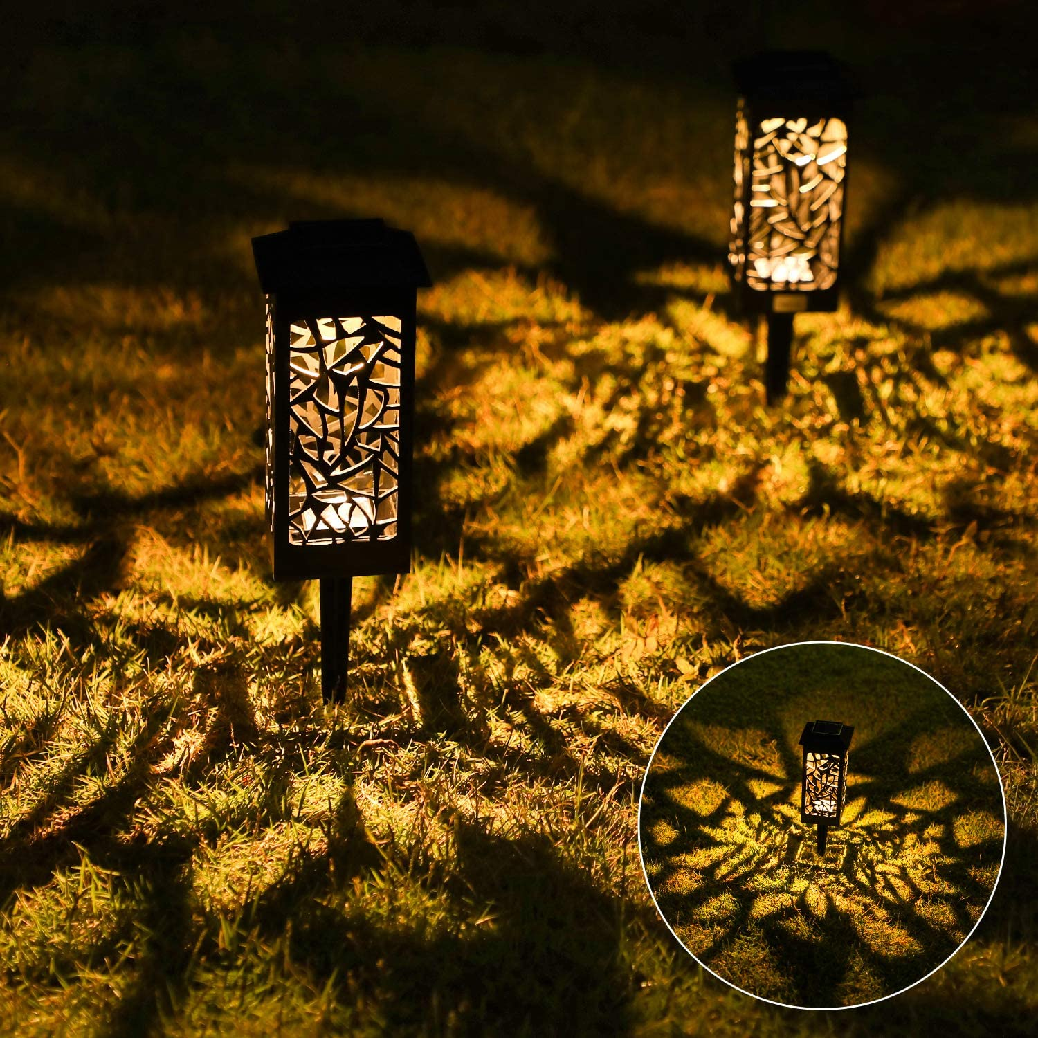 8 Pack Solar Path Lights Outdoor, OxyLED Auto On/Off LED Decorative Landscape Lighting Solar Powered, Waterproof Solar Garden Stake Lights for Yard Patio Lawn Backyard Pathway Driveway Walkway