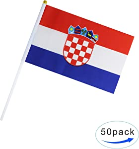 50 Pack Hand Held Small Mini Flag Croatia Flag Croatian Flag Stick Flag Round Top National Country Flags,Party Decorations Supplies For Parades,World Cup,Sports Events,International Festival