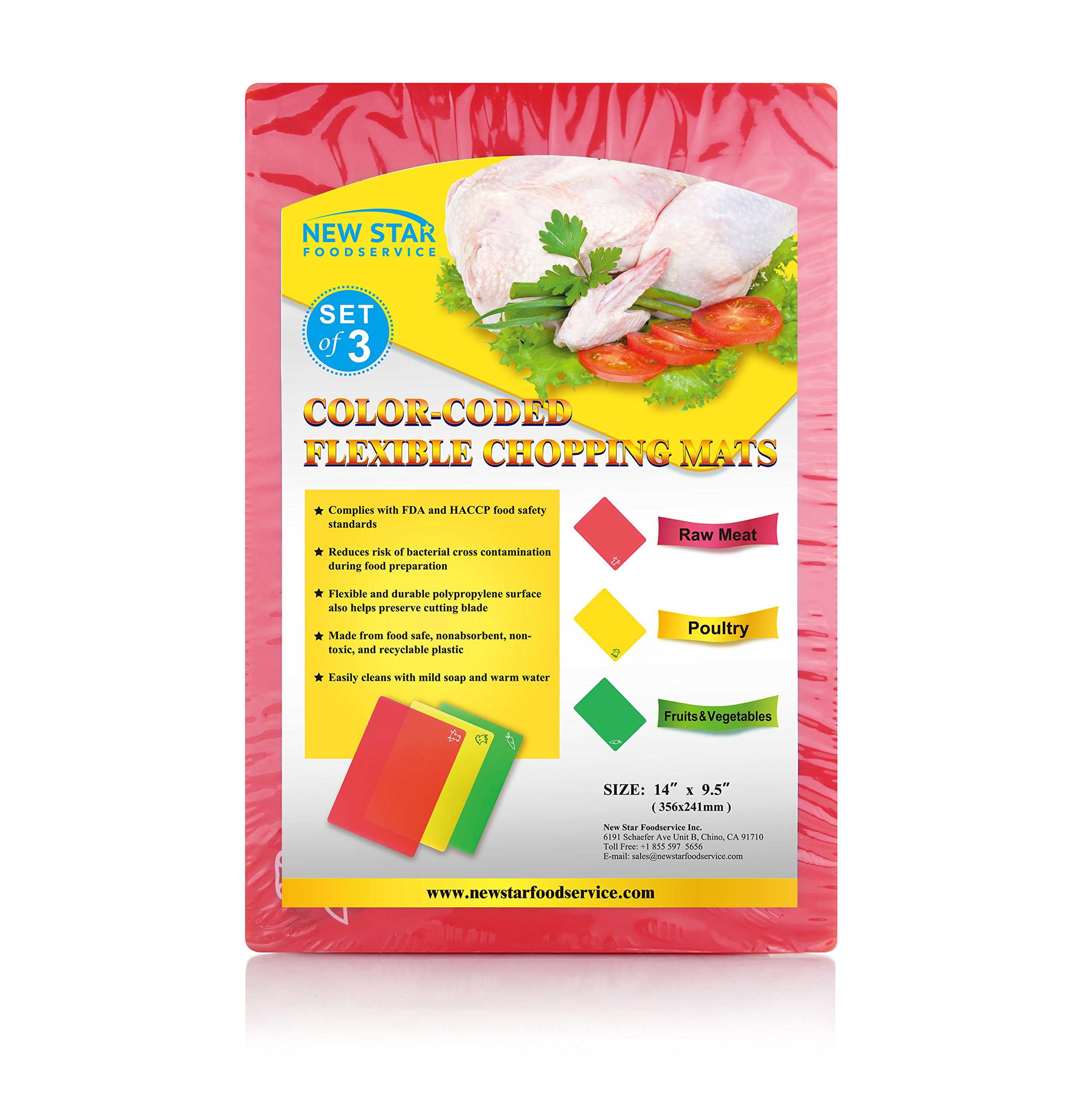 New Star Foodservice 28690 Flexible Cutting Board, 9.5-Inch by 14-Inch, Assorted Colors, Set of 3 by New Star Foodservice (Image #2)