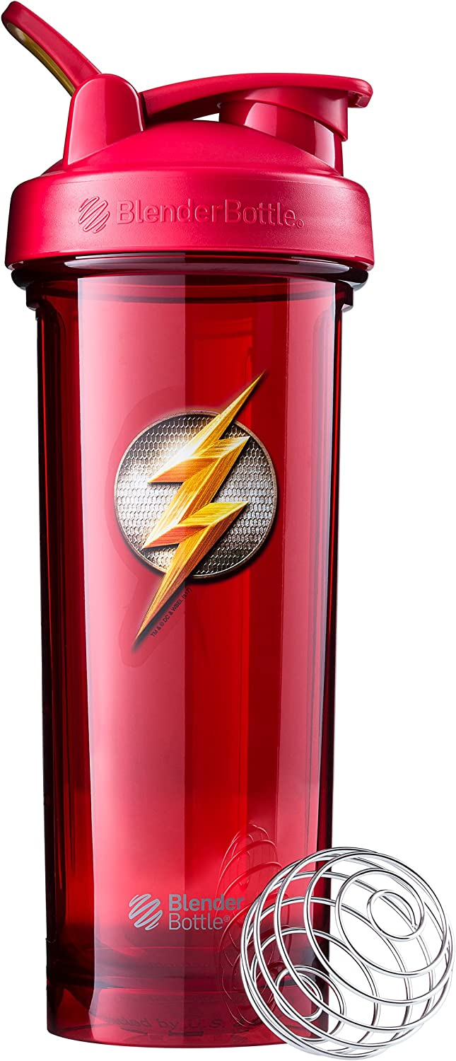 BlenderBottle Justice League Pro Series Shaker Bottle, Flash 32-Ounce