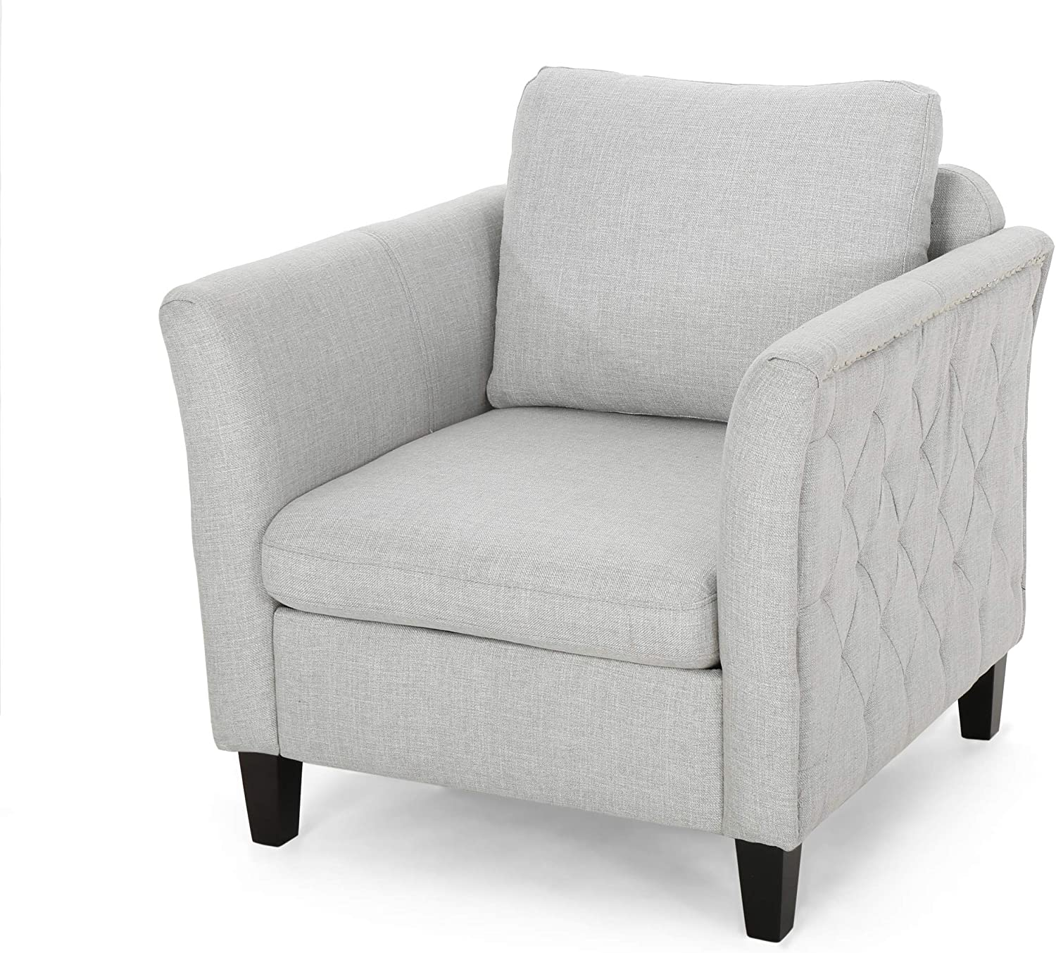 Christopher Knight Home Betty Traditional Fabric Club Chair, Light Gray, Slate, Dark Brown