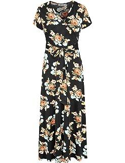 acd7fba95c2 Aphratti Women s Bohemian Short Sleeve V Neck Faux Wrap Vintage Maxi Dress