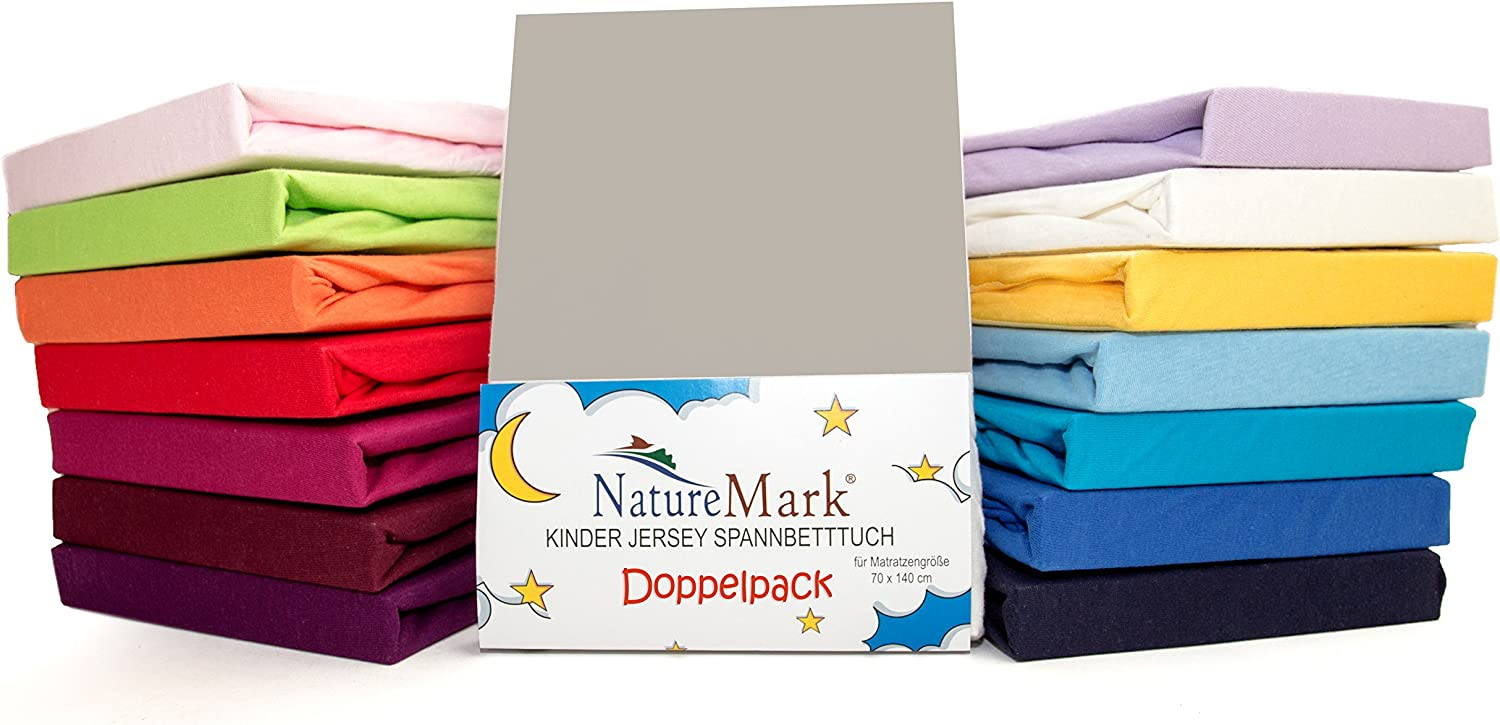 Fabric 70 x 140 cm pink Pack of 2 x Childrens Jersey Fitted Bed Sheets for Cot Mattresses // 100 /% Cotton // Oeko-Tex Tested // Choice of Many Colours