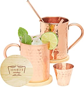 Advanced Mixology Authentic Moscow Mule Copper Mugs Set of 2 (16oz)   Cylinder-Shaped 100% Copper Cups Set w/ 2 Straws, 2 Wooden Coasters & 1 Shot Glass   Tarnish-Resistant Food Grade Lacquer Coat