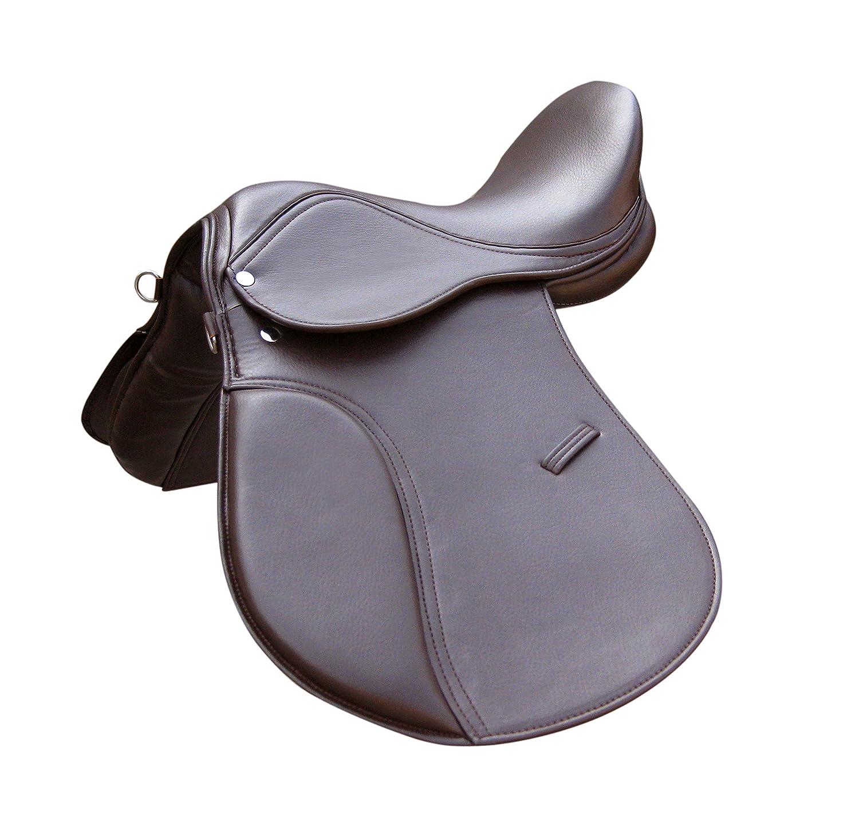 GENERAL PURPOSE SYNTHETIC HALFLINGER HORSE SADDLE IN BROWN COLOR (17) TINTPETS