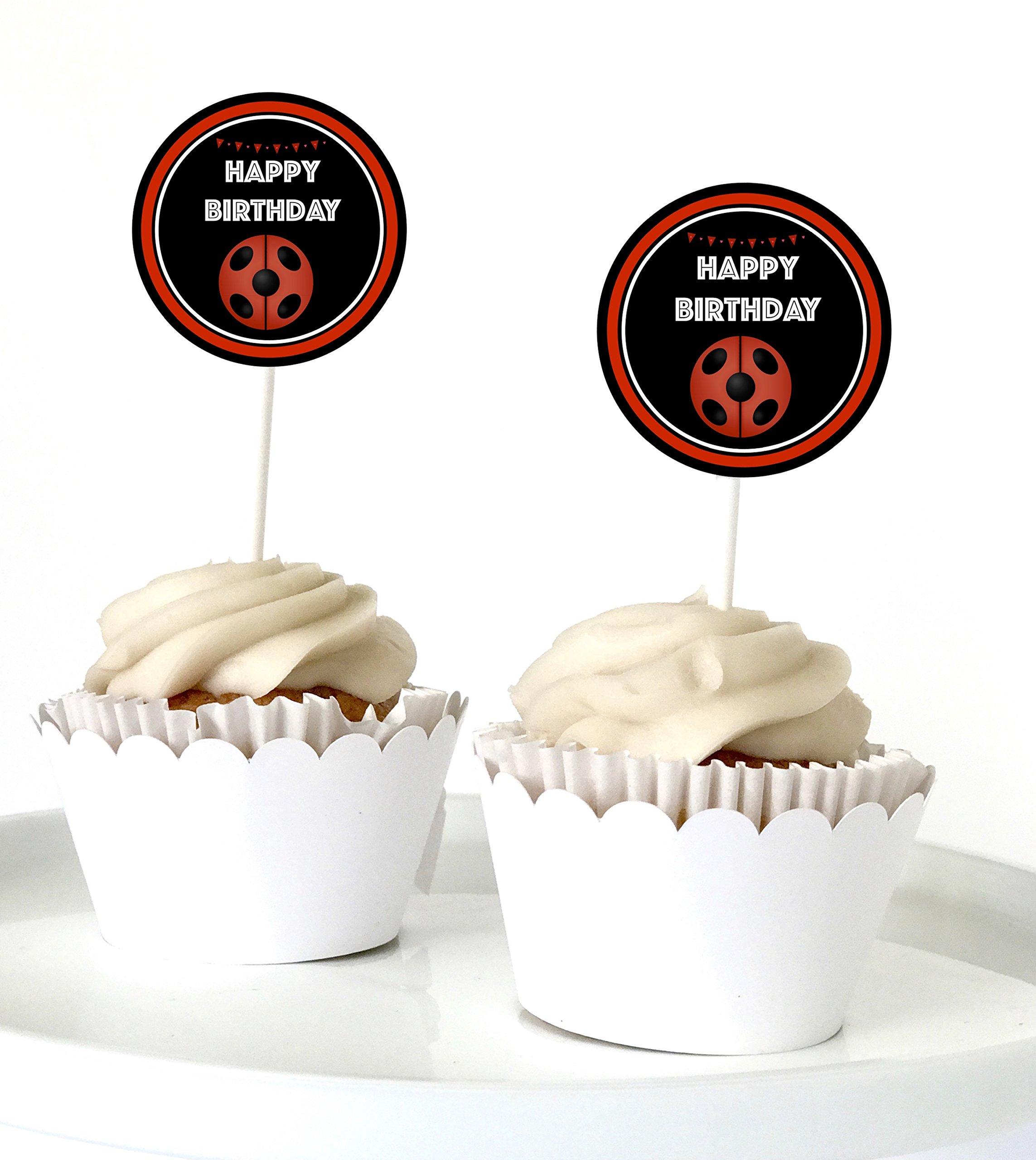 12 Ladybug Cupcake Toppers - Ladybug Party Supplies