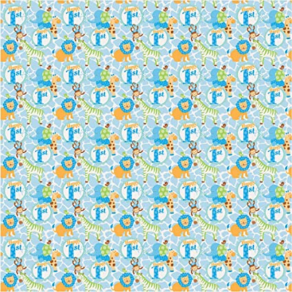5ft Wild Safari Blue Boys 1st Birthday Party Gift Wrap Wrapping Paper Roll Amazoncouk Kitchen Home