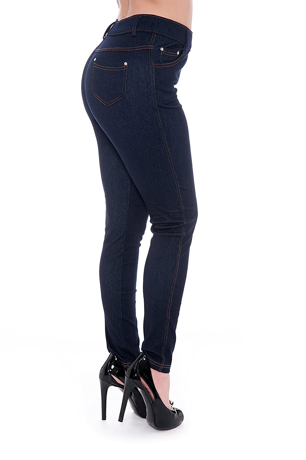 09c946a4fef Unique Styles Women's Basic Jeggings Leggings Stretchy 5 Pockets Pants  Regular Plus Sizes at Amazon Women's Clothing store: