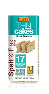 Suzie's Whole Grain Thin Cakes, Spelt and Flax Seeds, 4.6 Ounce (Pack of 3)