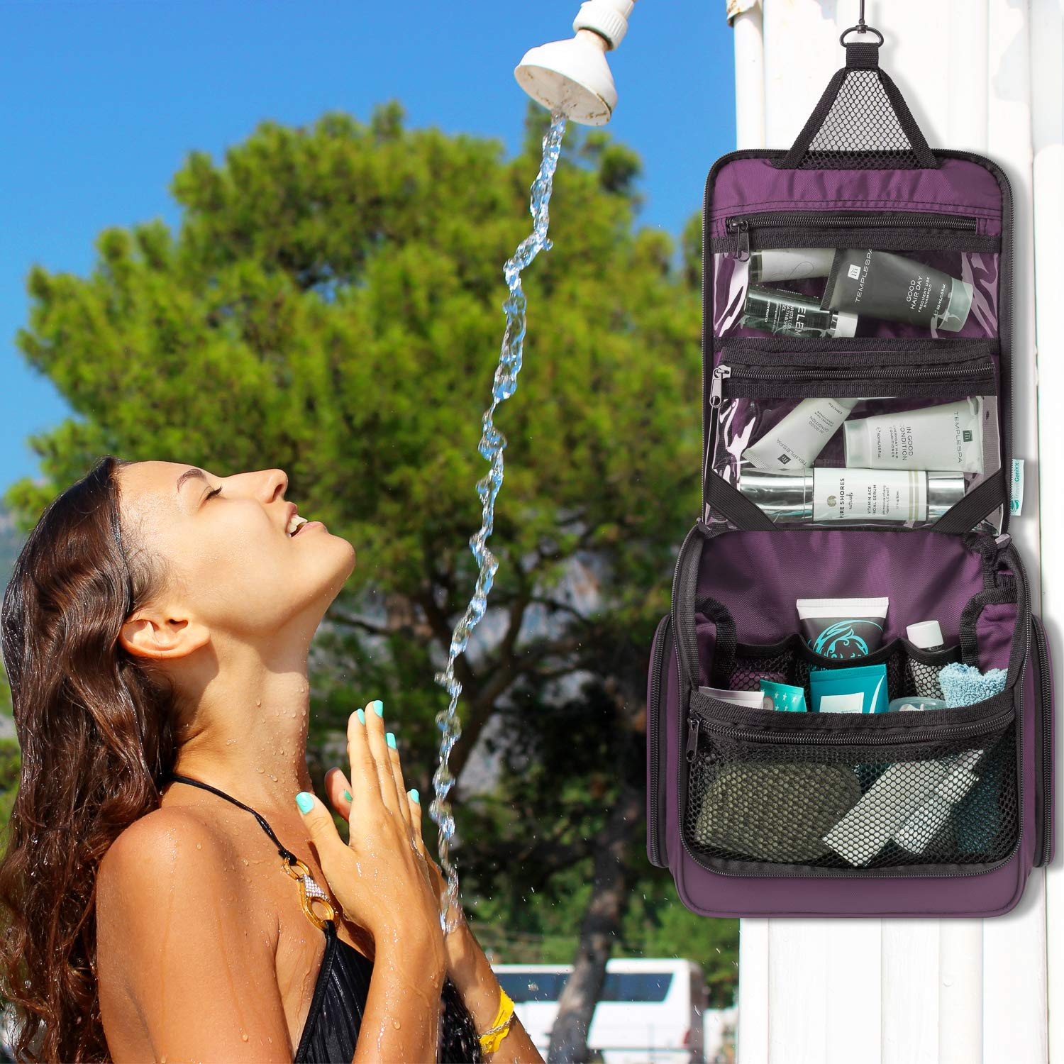 Transparent TSA compliant Zipper Bag /& Resistant Drawstring Bag Included Purple Toiletry Bag Hanging for Travel