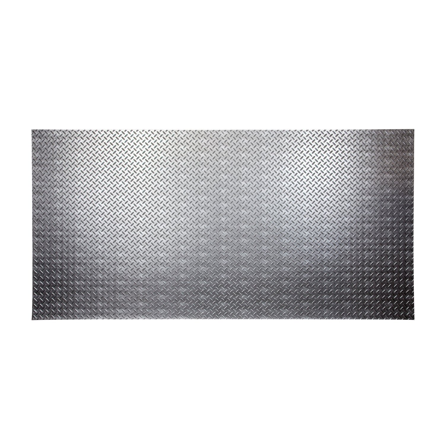 Fasade - Diamond Plate Crosshatch Silver Decorative Wall Panel - Fast and Easy Installation (4' X 8' Panel)