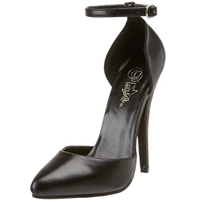Pleaser Women's Domina-402 Pump,Black Leather,5 ...