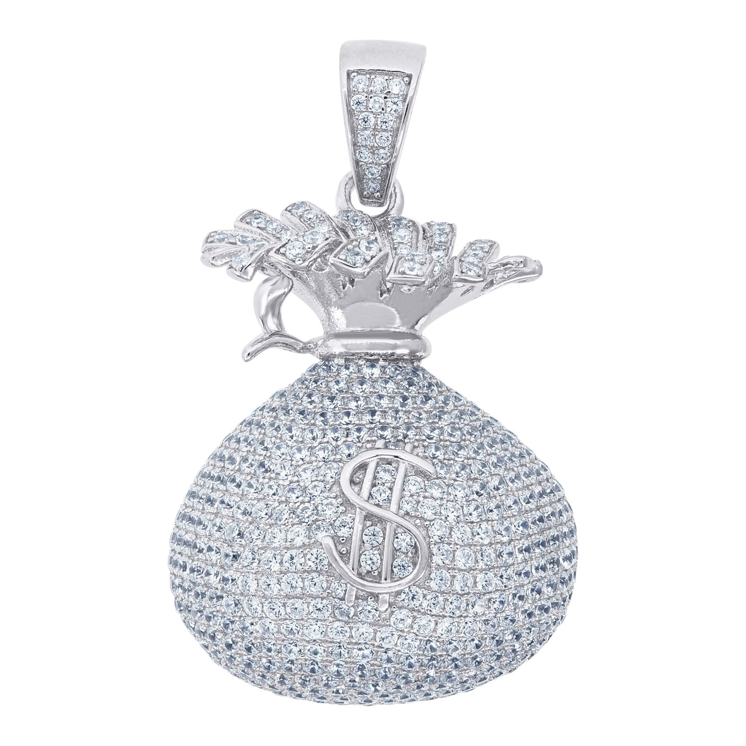 Jewels By Lux 925 Sterling Silver CZ Money Bag Fashion Pendant Charm