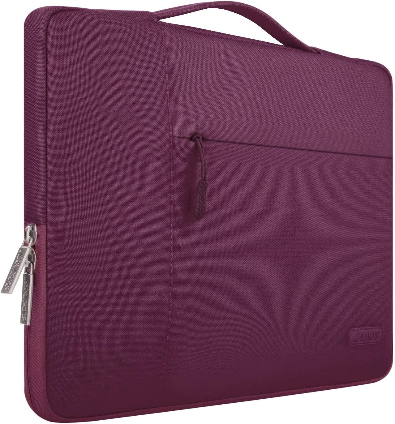 MOSISO Laptop Sleeve Compatible with 15 inch MacBook Pro Touch Bar A1990 A1707, 14 HP Acer Chromebook, 2019 Surface Laptop 3 15, Polyester Multifunctional Briefcase Carrying Bag, Burgundy