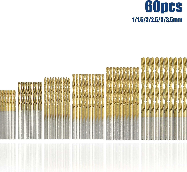 pl/ástico madera 1//1,5//2//2,5//3//3,5mm titanio de Taladro etc Brocas helicoidales HSS para taladro 60pcs aluminio SYCEES para acero