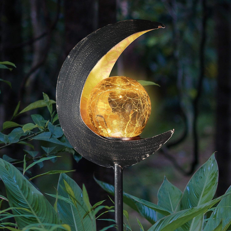 "Exhart Solar Glass Ball Crescent Moon Yard Stake - Solar-Powered Lunar Torch Crackle Ball Garden Stake, Crystal Ball Decor Lights, Glass Orb Outdoor Lights, Metal Yard Decor, 4"" L x 4"" W x 38"" H"