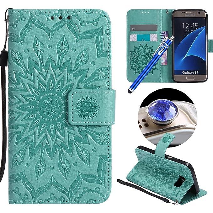 Etsue Kompatibel mit Samsung Galaxy S7 Handyhülle Blumen Handytasche Brieftasche Hülle Bookstyle Schutzhülle Mandala Blumen L