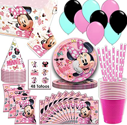 Amazon.com: Minnie Mouse Party Supplies, sirve 16 platos ...