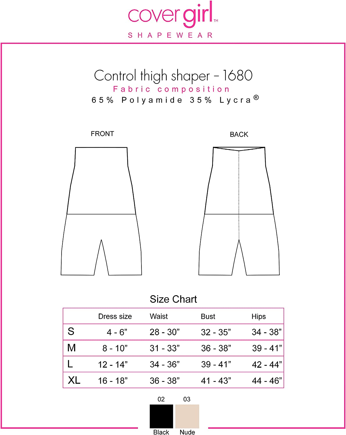 Cover Girl Shapewear Jenna High Waist Thigh Slimmer and Seamless Tummy Control CG1680