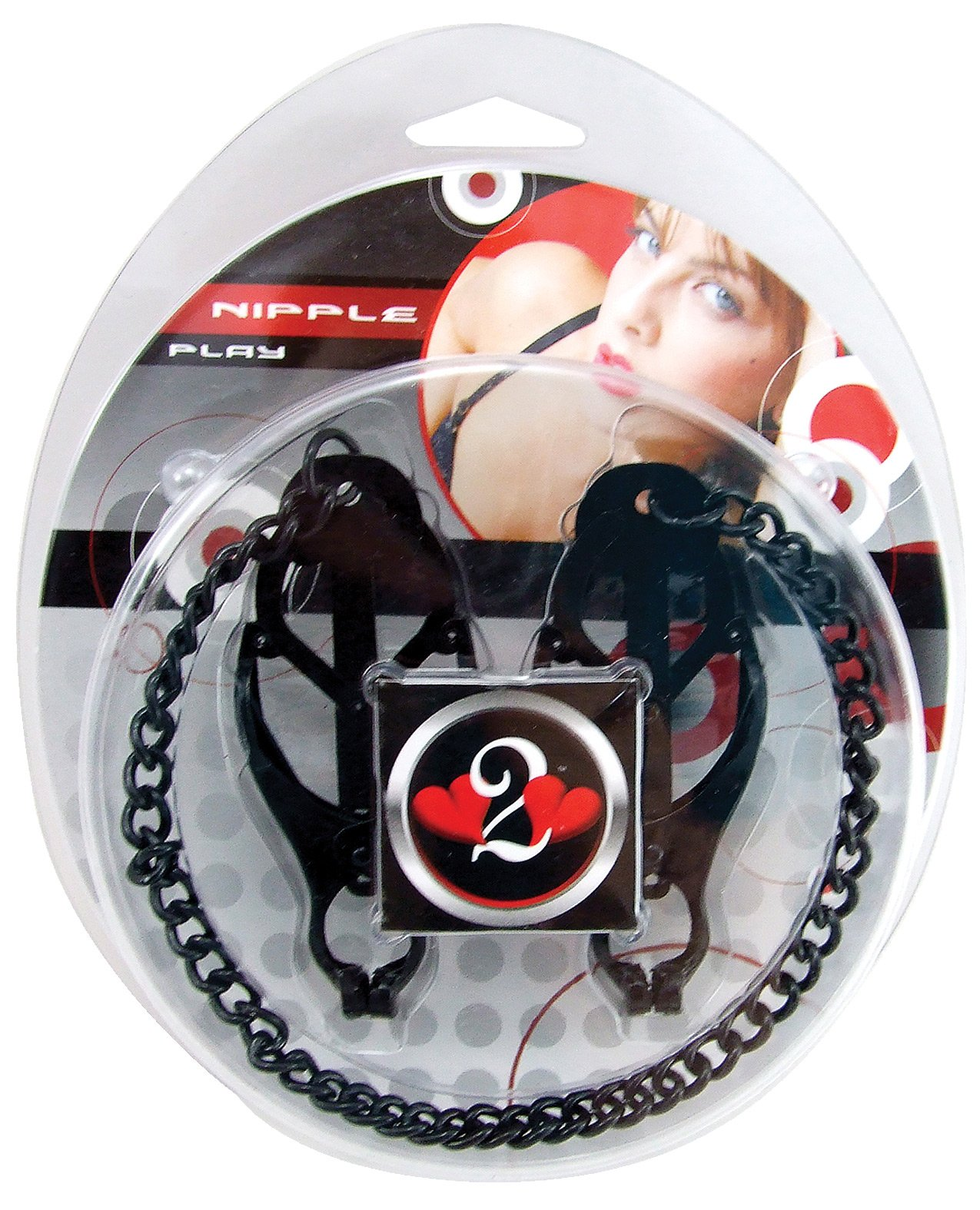 Heart 2 Heart Nipple Clamps Jaws w/Chain - Black by Sex Toys Online Store (Image #1)